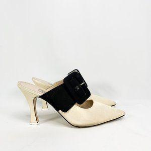ATTICO Pointed Large Buckle Mule Heels Cream Black